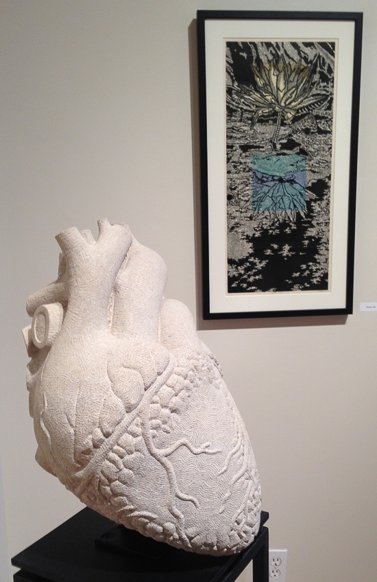 In the show at the Ivy Tech John Waldron Arts Center, Dale Enochs displays both limestone & metal sculpture, as well as printmaking.