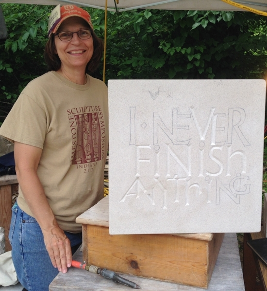Stone and wood carver Delaine Gerstbauer is the site manager of the Indiana Limestone Symposium and also works on her own carving.