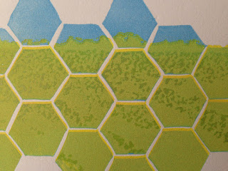 Hexagon shapes are carved into the block before the image is printed.