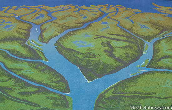 A river delta in Saskatchewan creates a blue fractal in a sea of green foliage.