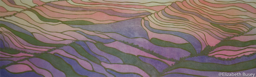 Rice paddies reflecting setting sun on textured Asian paper