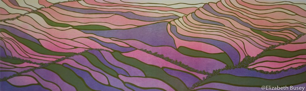 linocut of rice paddies reflecting a colorful sun.