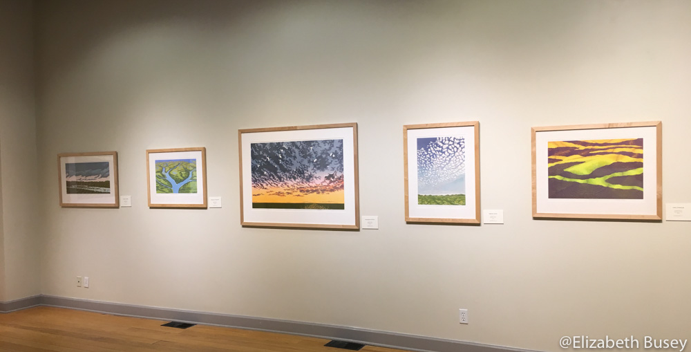 Five cloudscapes and landscapes from Ivy Tech John Waldron show.