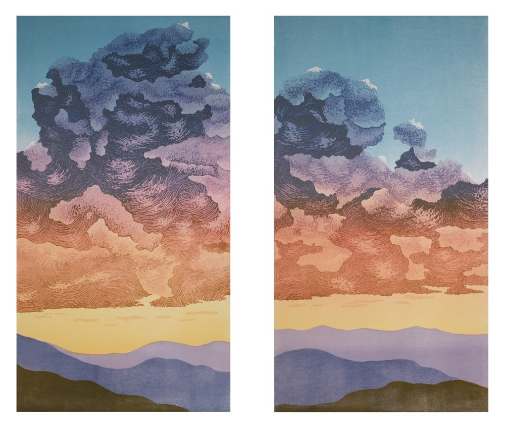 Two panel linocut of brilliantly colored cumulus cloud.