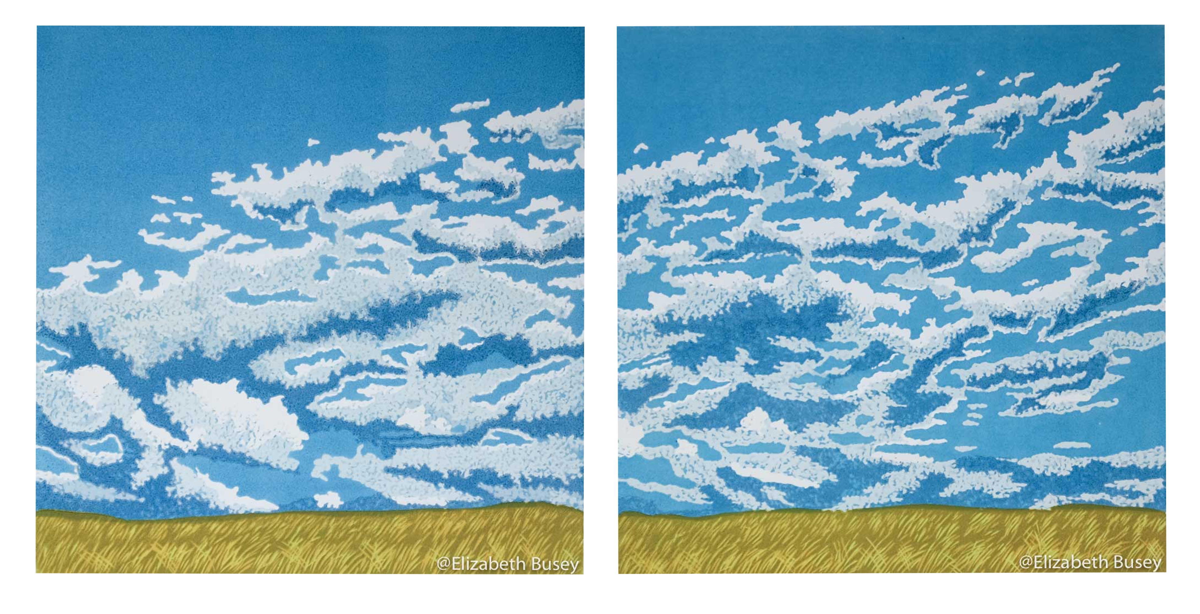 Diptych of rapidly blowing clouds above waving grasses