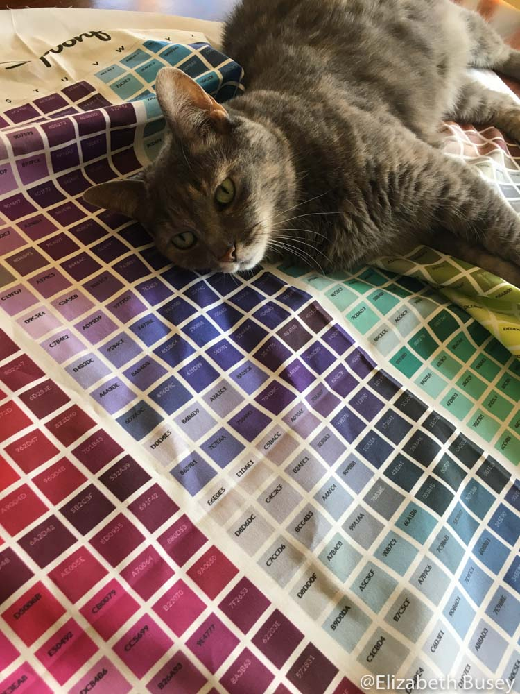 cat on fabric color chart.