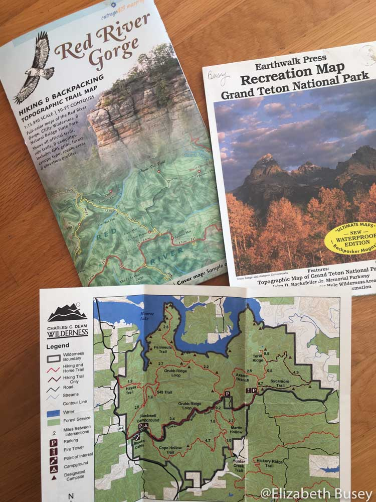 topographical hiking maps