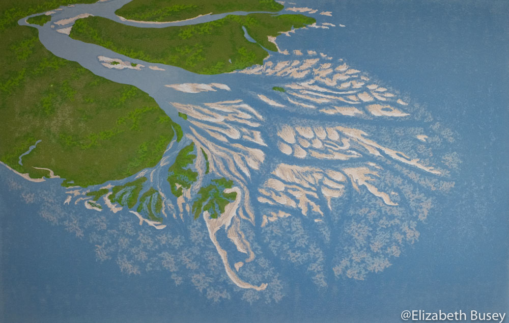 linocut of Canadian river delta
