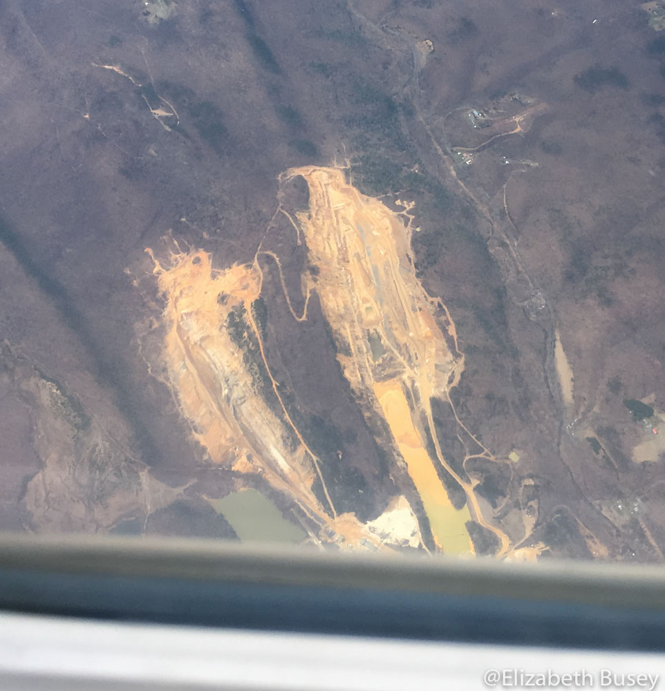 Actual mountaintop removal in the mountains of West Virginia.