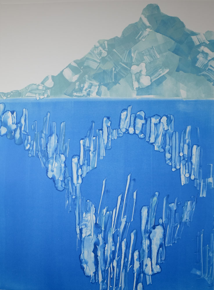 Iceberg, both above and below the water, is created with opaque and transparent inks. Created at Penland School of Crafts