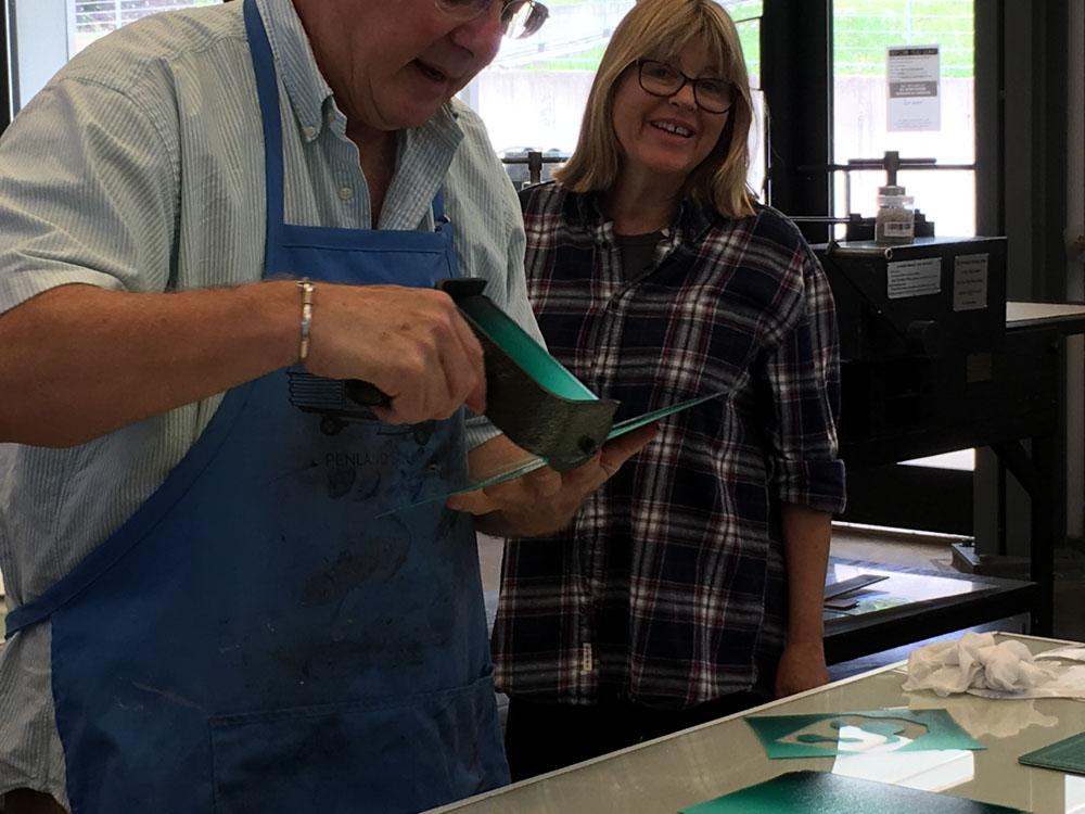 Printmaking demo by Andy Rubin at Penland School of Crafts