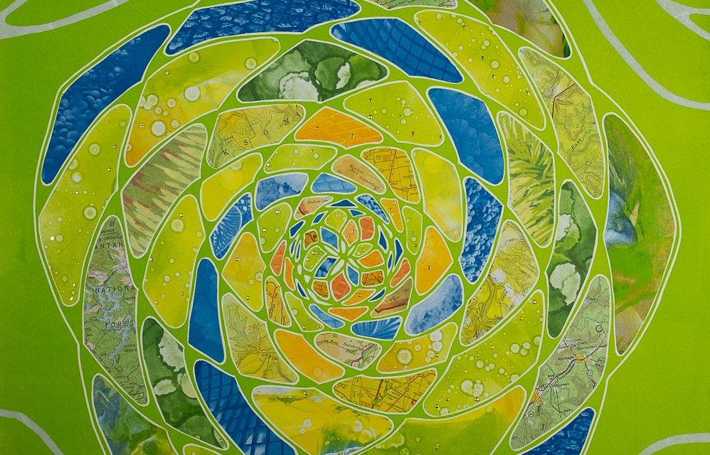 Pinecone shaped Fibonacci monoprint collage chartreuse with orange green monotypes, nature pattern cyanotypes gold leaf. Elizabeth Busey. 18 x 18in.