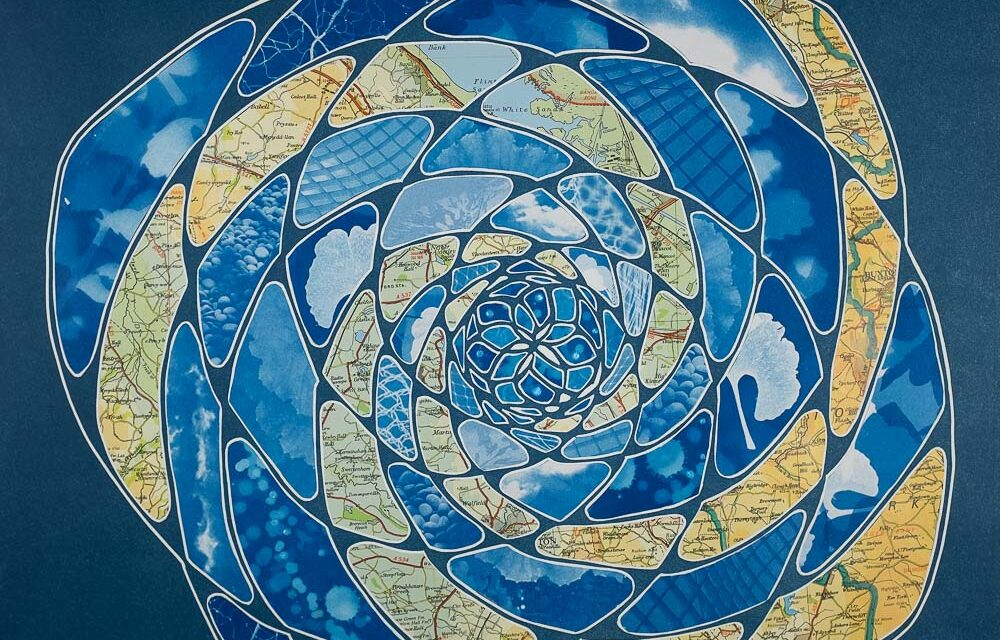 Fibonacci pattern monoprint collage with cyanotypes and vintage maps of England by Elizabeth Busey. 18 x 18 inch. Prussian blues oranges nature patterns