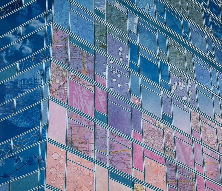 Vertical monoprint collage reflections skyscraper building pinks blush sunrise cyanotype vintage maps Elizabeth Busey 24 x 18 inch
