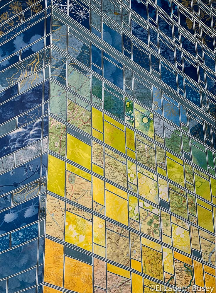 Vertical monoprint collage reflections skyscraper building yellow-green sunrise blue-green cyanotype vintage maps Elizabeth Busey 24 x 18 inch