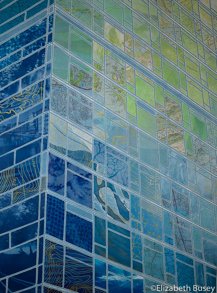 Vertical monoprint collage reflections skyscraper building blues greens soothing cyanotype vintage maps Elizabeth Busey 24 x 18 inch