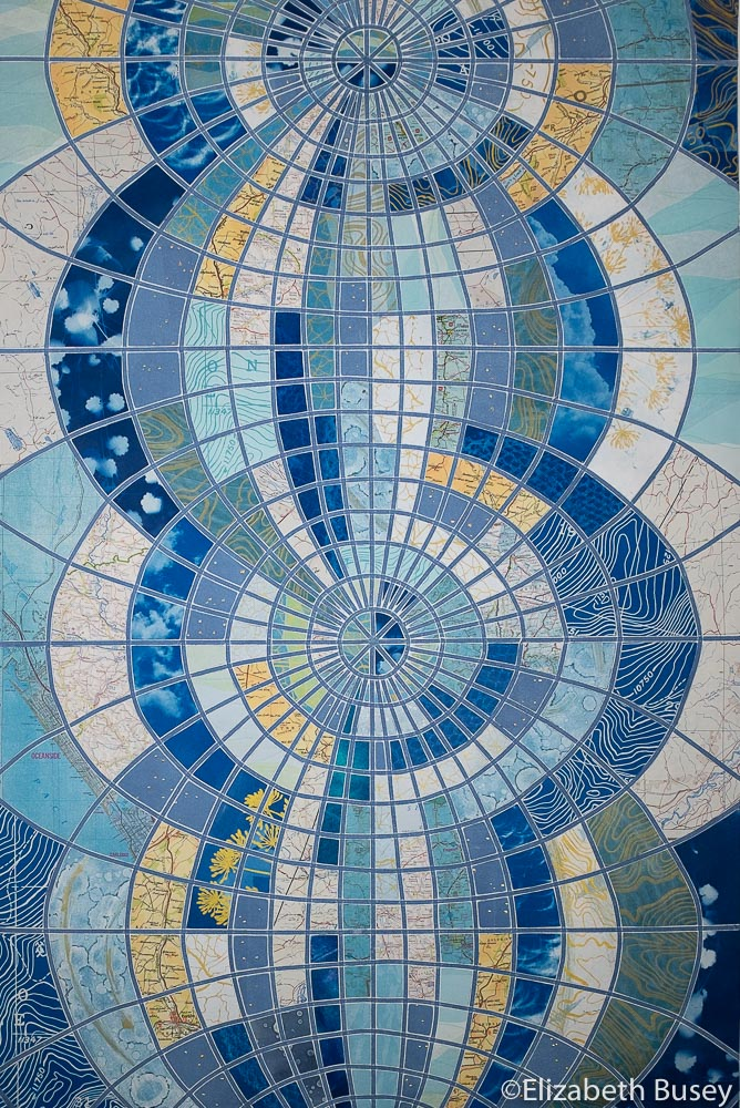 Vertical monoprint collage globe transformation blues orange stained glass cyanotype vintage maps Elizabeth Busey 36 x 24 inch